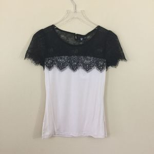Vero Moda Size S-M Lace Cream Short Sleeve Top